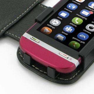PDair Leder Tasche Book für Nokia Asha 311 in schwarz Handy Hülle