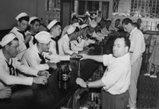 Sailors Drinking at Bar 1945 Archival Photo Poster Print Masterprint