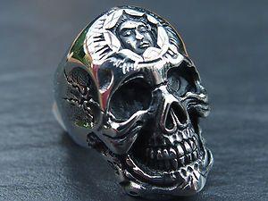 XL Skull Gothic Biker Totenkopf Ring 316 L Edelstahl groß Gr. 12   16
