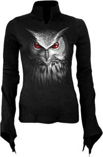 Gothic Fantasy T Shirt Longsleeve Bluse schwarz Baumwolle Eule Uhu 42