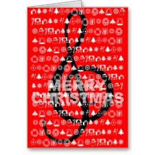 Merry Christmas Card Music Note Red card