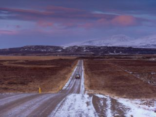 Road 94, Largarfjlot Valley North of Egilsstadir, at Sunset, East Fjords, Iceland, Polar Regions Photographic Print by Patrick Dieudonne