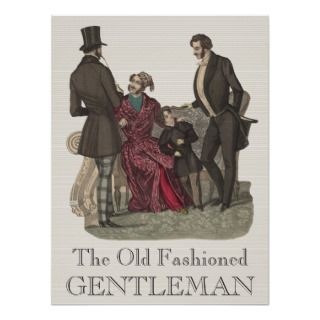 Three gentlemen and a boy model the fashions of the Biedermeier period