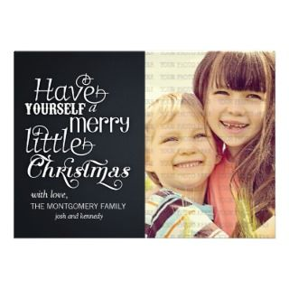 Modern Chalkboard Merry Little Christmas Photo Announcements