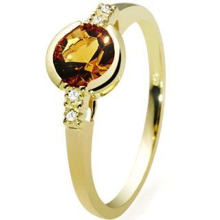 Goldmaid Damen Ring 585 Gelbgold 4 Diamanten 1 Citrin 0,02ct Gr. 54 Fa