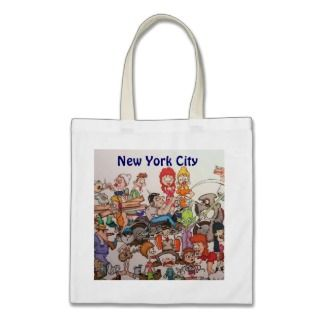 Crowd scene New York City Canvas Bags