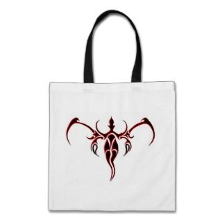 Elephant Tribal Tattoo   red and black Canvas Bag