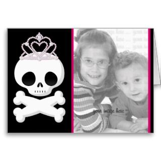 Photo Template Invites Pink Skull Princess Greeting Card