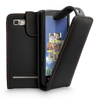 Black Flip Leather Case Cover For Motorola Motoluxe + Screen Protector