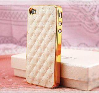 Luxus Apple iPhone 5 Gold Chrom Echt Leder Tasche Schutz Hülle Case