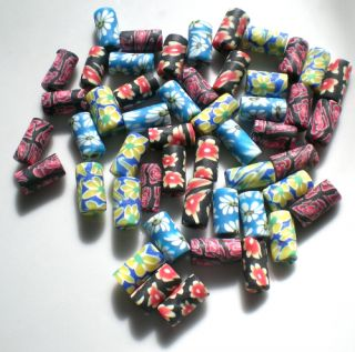 Lot 50 Perles tube 5x10mm Fleur Fimo Pate polymere Mix mixte rouge