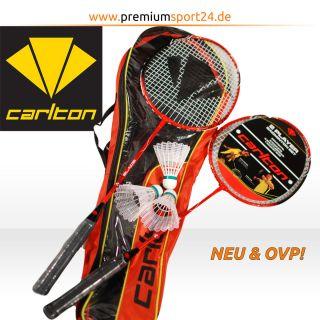 CARLTON 2er Set Badmintonschläger Tragetasche & 3 Federbälle