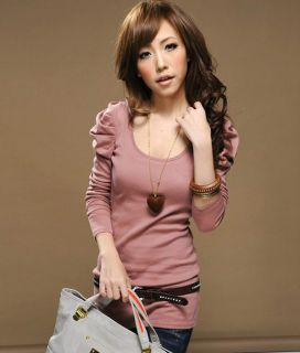 New Korea Women Puff sleeve Top slim T shirts Z344 long sleeves blouse