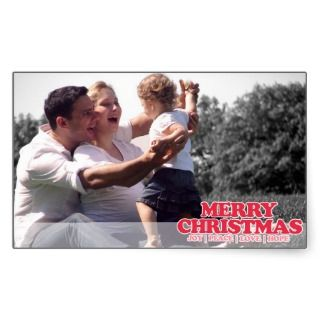 Warm Wishes & Merry Christmas Photo Greeting Rectangular Stickers