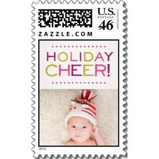 Retro Modern Holiday Ornaments Medium Postage