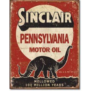 Sinclair Mellowed 100 Million Years Tin Sign