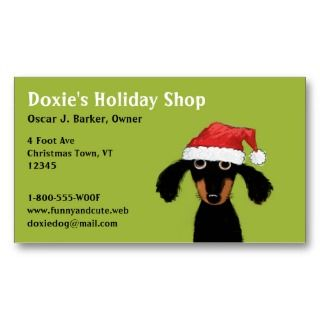 Funny Christmas Dachshund Holiday Business Card business cards by