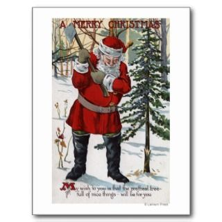 christmas greeting santa cutting down christmas tree was created in
