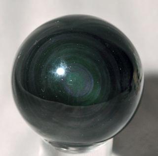Dramatically Dark Rainbow Obsidian Crystal Sphere