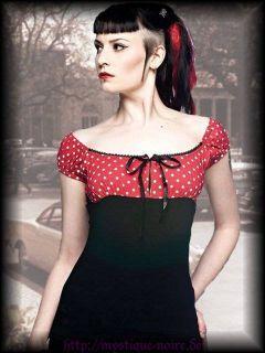 Carmen Bluse Top Suzy Polkadots Rockabilly Gothic PinUp S M L XL