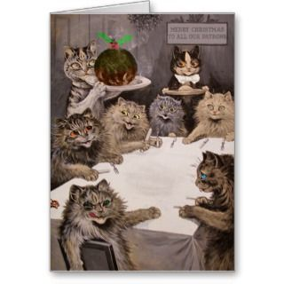 Vintage Louis Wain Cats Christmas Party Card