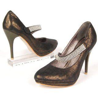 Damen Stiletto Pumps, Strass, High Heels, dunkel gold metallic