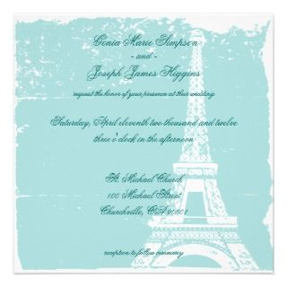 Blue Eiffel Tower Wedding Inviations Custom Invitation