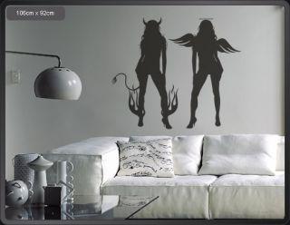 A372 Wandtattoo sexy Engel Teufel Wand Aufkleber Tattoo