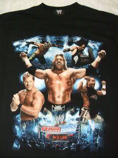 WWE Superstars FULL CREW Blue Wrestling T shirt ECW RAW