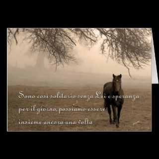 Solitario senza Lei Italian Missing You Card Horse cards by SalonOfArt