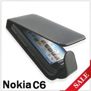 Schwarz Handy Tasche Leder Case Cover Schutz Huelle Etui fuer Nokia C6