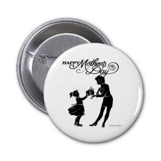Happy Mothers Day Silhouette Button