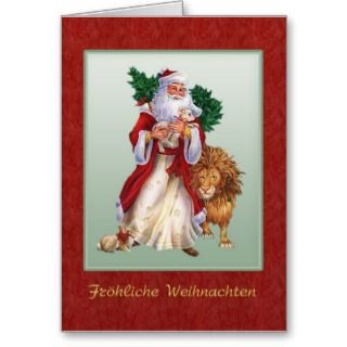 German Christmas   St.Nicolas, lion, rabbit Card