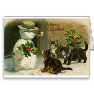 retro christmas card cats curious about snowman a merry christmas