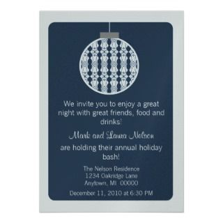 Art Deco Ornament Christmas Party Invite, Blue