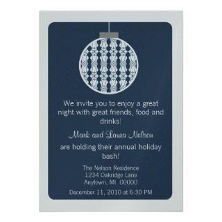 Art Deco Ornament Christmas Party Invite, Blue