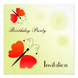 Butterflies, birthday party inviation custom invites