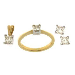Klassisches 18 Karat (750) Gold Damen   Diamant Ohrringe + Anhänger