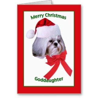 Shih Tzu puppy is all ready for Santa on this colorful Christmas card