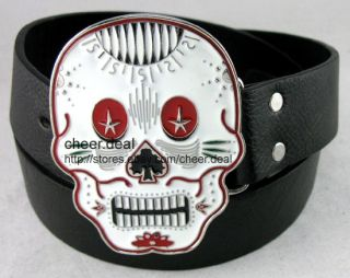Clown Skull Red Eyes Spade Buckle Genuine Leather Belt