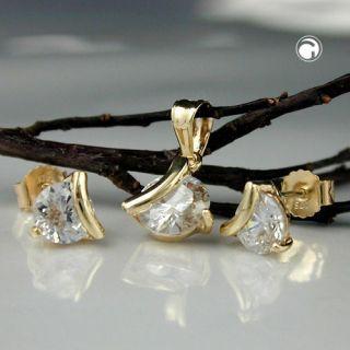 Ohrstecker und Anhänger mit Zirkonia, 375 Gold Gelbgold, Damen