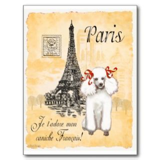 Poodle Eiffel Tower Vintage Style Print Post Card