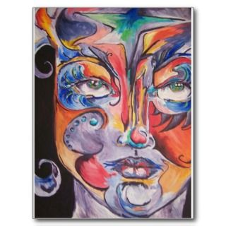 Design Abstract Face painting by Lisa Petrone Postcard