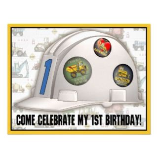 Hard Hat Construction 1st Birthday Party Invite
