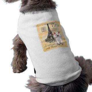 White Poodle Eiffel Tower Vintage Style Print Dog Tee