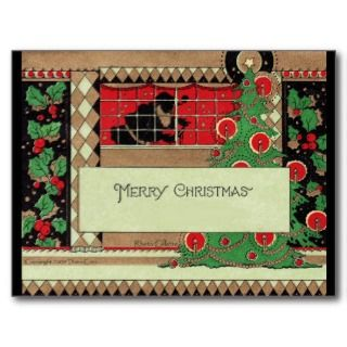 Art Deco Christmas Santa Postcard
