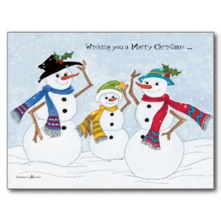 Merry Christmas snowman family Post Card