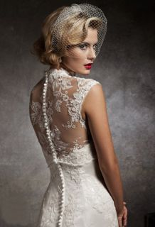 Mermaid Lace Top Cape Wedding/Bridal Dress/Gown Custom Made Size/Color