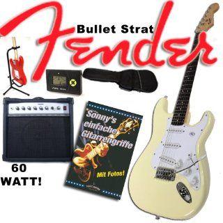 Gitarre Original Fender Squier Bullet Strat weiß + Sherwood 60 Watt