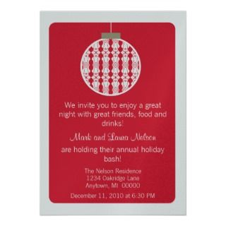 Art Deco Ornament Christmas Party Invite, Red